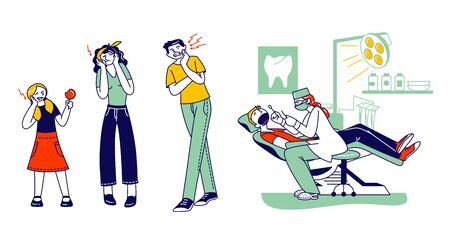 Toothache Concept. Male Female Characters Feeling Pain, Holding Cheek Suffer from Bad Tooth Ache with Painful Expression. Doctor Dentist Conduct Client Oral Check Up. Linear People Vector Illustration Ilustração
