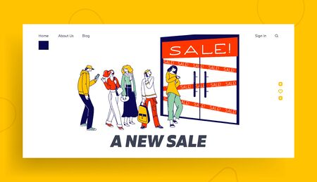 Diverse People Standing in Queue Waiting Boutique Shop Doors Opening Landing Page Template. Customer Characters Wait Shopping in Store, Sale, Discount and Special Offer. Linear Vector Illustration Ilustrace