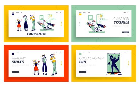 Toothache Landing Page Template Set. Doctor Dentist Conduct Client Oral Check Up.Characters Feel Pain Hold Cheek Suffer from Bad Tooth Ache with Painful Expression. Linear People Vector Illustration Stock Illustratie