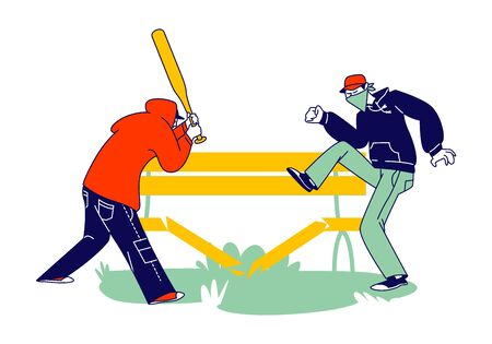 Aggressive Male Characters with Hidden Faces and Baseball Bat Breaking Wooden Bench on Street. Vandalism, Violence and Teen Aggression. Criminals Destroying Property. Linear People Vector Illustration Ilustração