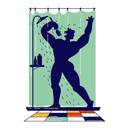 Man Singing Song in Shower Holding Brush like Microphone Imagine himself like an Artist Super Star. Naked Happy Male Character Bathing and Dancing while Washing in Bathroom. Linear Vector Illustration Çizim