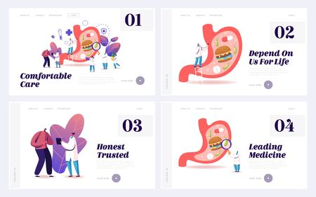 Gastroenterology Medicine Landing Page Template Set. Patient at Doctor Gastroenterologist Appointment, Medic Characters Study Huge Stomach, Gastritis Disease. Cartoon People Vector Illustration