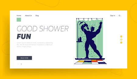 Man Singing Song in Shower Holding Brush like Microphone Landing Page Template. Naked Happy Male Character Bathing and Dancing while Washing in Bathroom Like Super Star. Linear Vector Illustration