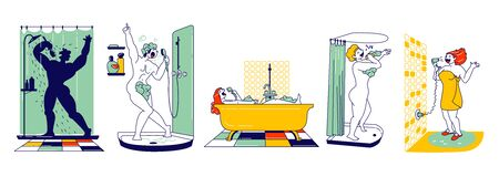 Happy Male and Female Characters Take Shower in Bathroom and Sing. People Washing and Having Fun. Woman Sitting in Tub, Drying Hair, Man in Foam Singing. Hobby and Relax. Linear Vector Illustration 向量圖像