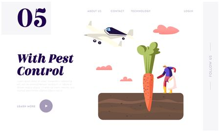 Agribusiness Ecology Pollution Landing Page Template. Farmer Character Pour Out Poisonous Fertilizer into Soil with Huge Carrot. Airplane Spraying Insecticide or Pesticide. Cartoon Vector Illustration Ilustrace