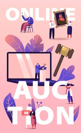 Online Auction Concept. People Buying Assets in Internet. Tiny Male and Female Characters around of Huge Laptop, Gavel Holding and Rising Bid Boards Poster Banner Flyer. Cartoon Vector Illustration 向量圖像