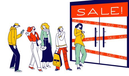 Customer Characters Shopping in Store, Sale, Discount and Special Offer Concept. Diverse People Dressed in Trendy Clothes Standing in Queue Waiting Shop Doors Opening. Linear Vector Illustration Ilustrace