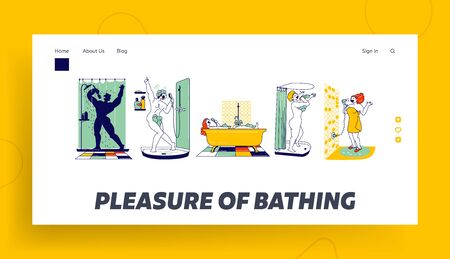 People Washing and Have Fun Landing Page Template. Happy Characters Take Shower in Bathroom and Sing. Woman Sitting in Tub, Drying Hair, Man in Foam Singing Hobby and Relax. Linear Vector Illustration Çizim