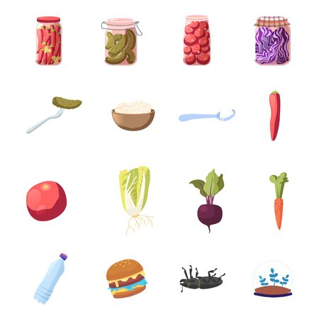 Set of Icons, Cartoon Red Hot Chili Pepper, Marinated Pickles and Fermented Food. Tomatoes, Cabbage and Salt in Spoon Canning Beetroot, Ripe Carrot, Vegetables Water and Burger. Vector Illustration