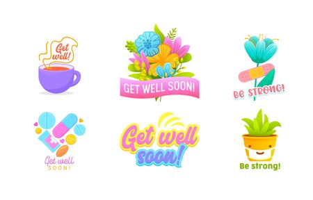 Get Well Soon and Be Strong Icons or Banners Set Isolated on White Background. Cute Potted Plant in Medical Mask, Cup with Hot Drink, Medicine Drugs, Flowers. Cartoon Vector Illustration, Clip Art