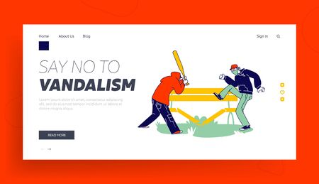 Vandalism, Violence and Teen Aggression Landing Page Template. Aggressive Male Characters with Hidden Faces and Baseball Bat Breaking Wooden Bench on Street. Linear People Vector Illustration