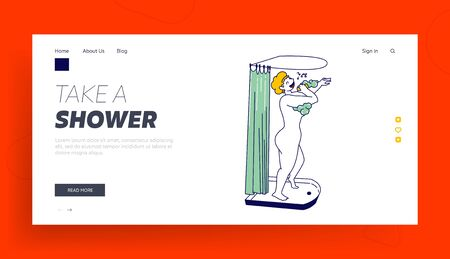 Naked Happy Female Character Bathing Landing Page Template. Woman Lathering Body with Soap and Singing Song in Shower. Person Washing Procedure at Home or Hotel Bathroom. Linear Vector Illustration