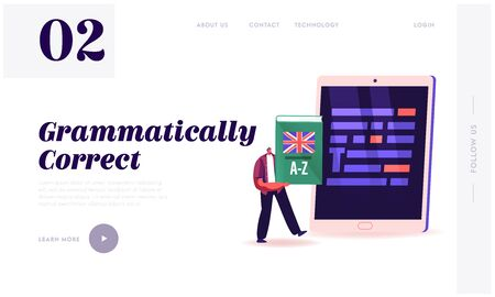 Proofreading Landing Page Template. Tiny Male Character Holding English Language Dictionary Stand front of Huge Tablet Pc with Underlined Grammar Test Mistakes in Text. Cartoon Vector Illustration Иллюстрация