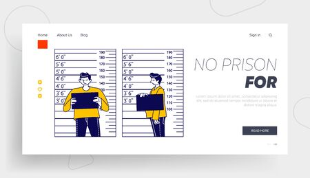 Arrested Man Posing for Identification Mugshot Photo Landing Page Template. Criminal Male Character Stand on Measuring Scale with Mug Shot Plate in Police Station. Linear People Vector Illustration
