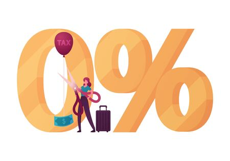 Tourist Female Character Stand at Huge Zero Percent Symbol Cutting with Scissors Balloon Rope with Tax Inscription and Dollar Bill. Tax Free and Duty Free Shopping Zone. Cartoon Vector Illustration