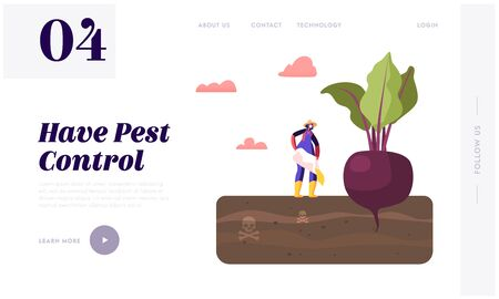 Farming Industry Agribusiness Ecology Pollution Landing Page Template. Female Farmer Character Pour Out Poisonous Fertilizer to Soil with Huge Beetroot Grow in Toxic Land. Cartoon Vector Illustration