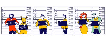 Characters Criminal Mugshot Front, Side View on Measuring Scale Background in Police Station. Arrested Men, Woman and Dog with Board Posing for Identification Photo. Linear People Vector Illustration