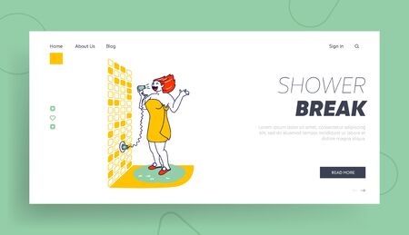 Woman Singer Training in Bath Fooling and Relax Landing Page Template. Female Character Wrapped to Towel Singing in Bathroom in Hair Dryer. Shower Performing with Fan. Linear Vector Illustration