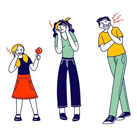 Male and Female Characters Suffering of Toothache. Man Woman and Little Girl with Lollipop Holding Cheek Feeling Terrible Pain in Tooth or Gum. Caries in Oral Cavity. Linear People Vector Illustration  イラスト・ベクター素材
