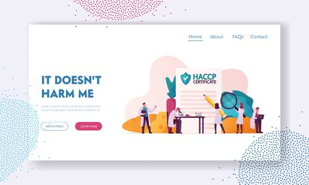 Haccp Hazard Analysis and Critical Control Point Landing Page Template. Lab Quality Control Management Rules for Food Industry. Tiny Characters with Microscope. Cartoon People Vector Illustration