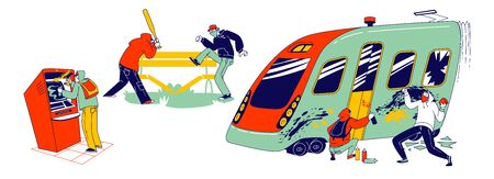 Vandalism and Anger Concept. Teenagers Characters Graffiti Painting on Metro Train, Breaking Bench in Park with Baseball Bat, Paint with Spray on Atm, Teen Violence. Linear People Vector Illustration