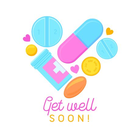 Get Well Soon Banner with Cartoon Pills, Medicine Tablets and Hand Written Typography. Wish Health to Friend Isolated on White Background. Card, Badge of Simple Design. Cartoon Vector Illustration