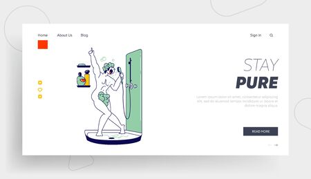 Person Take Washing Procedure at Home or Hotel Bathroom Landing Page Template. Man Lathering Body and Singing Song in Shower. Naked Happy Male Character Bathing and Dancing. Linear Vector Illustration