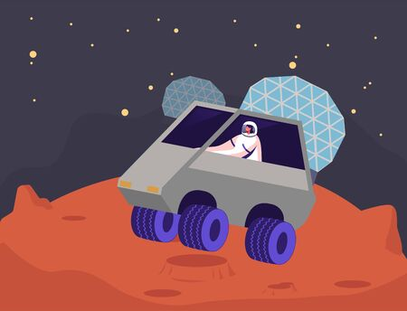 Female Astronaut Character Ride Rover on Mars Surface. Outer Space and Alien Planets Exploration, Galaxy Research and Colonization Concept. Cosmonaut Explore Red Planet. Cartoon Vector Illustration