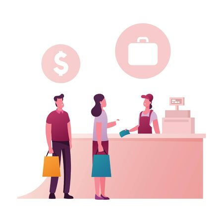 Happy People Standing at Counter Desk with Saleswoman in Duty Free Store. Male and Female Characters Buying Cheap Cosmetics, Alcohol and Food in Airport or Tax Free Area. Cartoon Vector Illustration