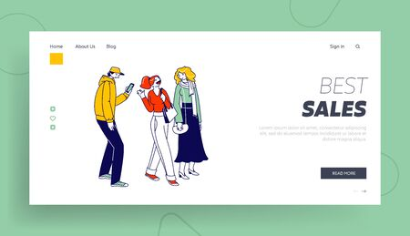 Stylish People with Gadgets Communicate Landing Page Template. Characters in Trendy Clothes Standing in Line or Queue Waiting for Store Boutique or Showroom Opening. Linear Vector Illustration Ilustrace