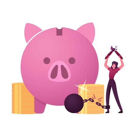Happy Female Character Cutting Chain with Weight with Huge Piggy Bank and Pile of Golden Coins around. Woman Loan Exemption, Debt Free Happiness, Finance Money Freedom. Cartoon Vector Illustration Vectores