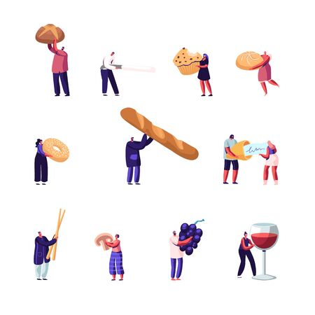 Set of Male and Female Characters Presenting Homemade Bread and Wide Choice of Fresh Baked and Pastry Production, Wine and Fresh Grape. People Eating and Cooking Bakery. Cartoon Vector Illustration  イラスト・ベクター素材