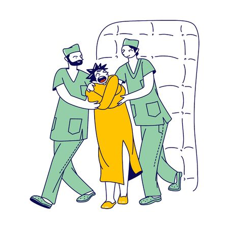 Psychiatric Hospital Concept. Medic Orderly Characters Leading Mentally Unstable Crazy Patient Wrapped in Straitjacket to Procedure in Room with Padded Soft Walls. Linear People Vector Illustration