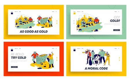 Golden Rush and Mafia Band Landing Page Template Set. Prospectors Male Characters Panning Gold on Wild West. Mafioso Men with Weapon around of Chief Sit in Armchair. Linear People Vector Illustration