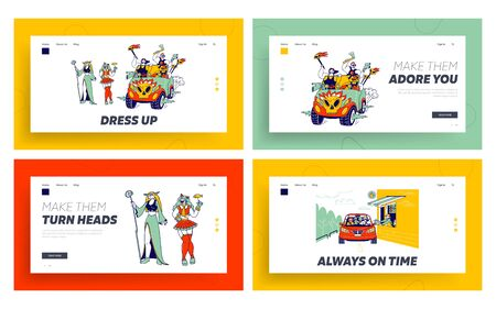 Cosplay Fest and Drive Thru Service Landing Page Template. Culture Hobby and Entertainment. Happy Anime Characters Fans Party. Cosplayers in Outfit, Takeaway Food. Linear People Vector Illustration