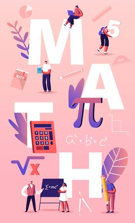 Math Science Concept. Tiny Students Characters in Lab or School Class Learning Mathematics at Huge Sign Pi. People Gaining Education and Writing Formula Poster Banner Flyer Cartoon Vector Illustration Ilustracje wektorowe