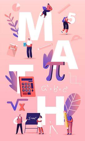 Concept de sciences mathématiques. Personnages d'étudiants minuscules en classe de laboratoire ou d'école apprenant les mathématiques à l'énorme signe Pi. Les gens gagnent en éducation et en écrivant formule affiche bannière Flyer Cartoon Vector Illustration Vecteurs