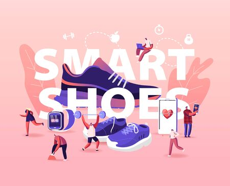 People Wear Smart Shoes Concept. Sports People Training in Iot Sneakers. Tiny Male and Female Characters Walking around Huge Footwear in Gym, High-tech Poster Banner Flyer Cartoon Vector Illustration