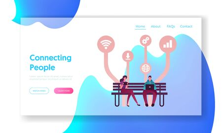 Free Apps Download Landing Page Template. Young People Characters Using Gadgets Sitting on Bench, Chatting in Social Media Networks, Communicating with Mobile Devices. Cartoon Vector Illustration