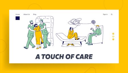 Psychiatric Hospital for People with Mental Disorder Landing Page Template. Patient Character in Straitjacket in Asylum. Madhouse with Bed, Soft Walls, Doctor and Orderly. Linear Vector Illustration