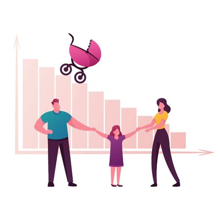 Birth Rate and Demographic Datum Concept. Happy Parents and Little Daughter Characters Hold Hand front of Decreasing Column Chart with Baby Carriage Riding Down. Cartoon People Vector Illustration Vectores