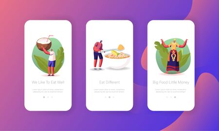 Thai National Meal, Asian Food Mobile App Page Onboard Screen Template. Tiny People Characters Cooking Thailand Dish Tom Yam Kung Sour Soup with Shrimps and Lime Concept. Cartoon Vector Illustration