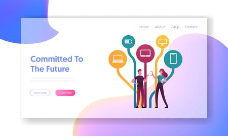 Social Media Networking Landing Page Template. Characters Holding Smartphones Communicating Online Using Free Network and Internet Applications, Services. Cartoon People .Cartoon Vector Illustration