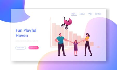 Birth Rate and Demographic Datum Landing Page Template. Parents and Daughter Characters Hold Hand front of Decreasing Column Chart with Baby Carriage. Cartoon People .Cartoon Vector Illustration