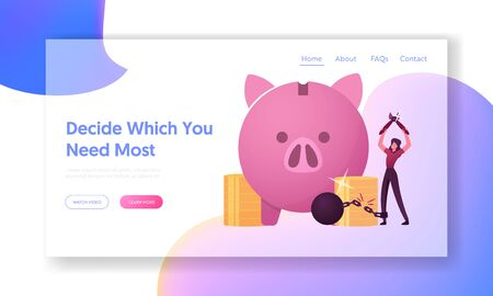 Debt Free, Finance Money Freedom Landing Page Template. Happy Female Character Cutting Chain with Weight at Huge Piggy Bank and Pile of Golden Coins around. Loan Exemption. Cartoon Vector Illustration Vectores