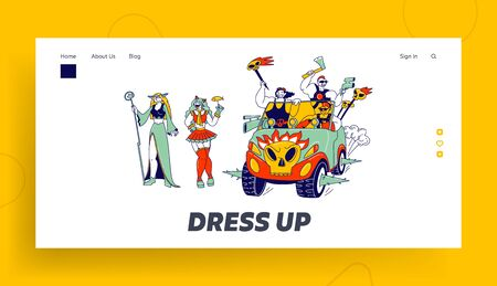 Cosplay Characters Landing Page Template. Culture Hobby and Entertainment. Happy Anime Fans Party. Cosplayers in Outfit and Wigs Smiling and Riding Car with Skulls. Linear People Vector Illustration