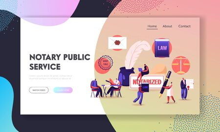 People Visit Lawyer Office for Signing and Legalization Documents Landing Page Template. Characters Get Notary Professional Service Concept. Secretary Stamp Documentation. Cartoon Vector Illustration 일러스트