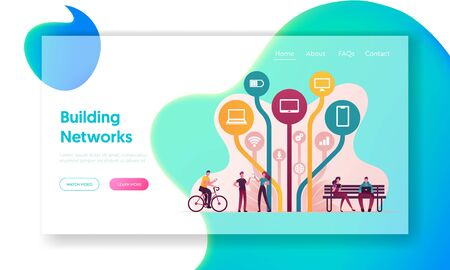 Free Internet Services and Applications Landing Page Template. Characters Using Gadgets and Apps for Smartphones and Devices Downloading from Worldwide Network. Cartoon People Vector Illustration Vectores