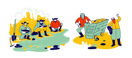 Golden Rush and Gold-washing Concept Prospector Characters Panning for Nuggets in Stream at Western Mining Camp, Bandits with Weapon Steal Prills, Wild West Theme. Linear People Vector Illustration Иллюстрация