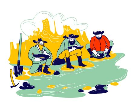 Group of Prospectors Male Characters Wearing Vintage Costumes and Hats Panning Golden Sand and Prills Sitting on River Side with Pickaxe and Spade. Gold Rush Concept. Linear People Vector Illustration